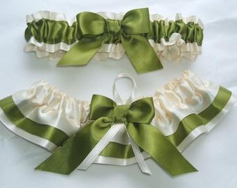 Wedding Garter Set Ivory Dnd Moss Green Satin