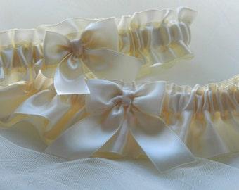 Wedding Garter Set All In Ivory Satin