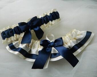 Wedding garter Set  Ivory Satin And Navy Blue Satin