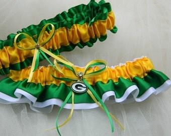 Green Bay Packers- Theme Wedding Garter Bridal Garter Sport Garter
