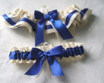 Wedding Garter Set Ivory And Royal Blue Satin