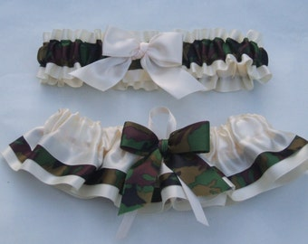Wedding Garter Set Camoflage And Ivory Satin