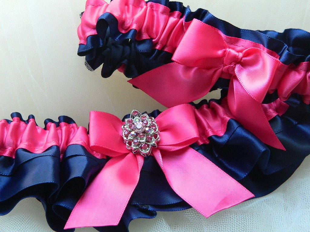Wedding garter set navy blue and hot pink satin with jewel for Navy blue and pink wedding