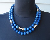 Vintage 14K Gold Genuine Lapis Pearls Necklace 30 Inches Long