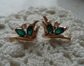Vintage Gold Emeralds and Diamond Earrings