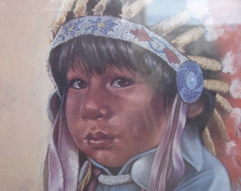Vintage Penni Anne Cross Thick Lodge Clan Boy Signed Numbered Lithograph Framed Native American Fine Art