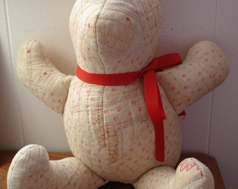Vintage Upcycled Repurposed Antique Quilt Large Stuffed Teddy Bear