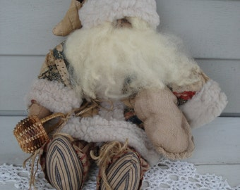 Primitive Textile Artwork Vintage Antique Upcycled Quilts Old-Time St. Nicholas Stuffed Santa Doll