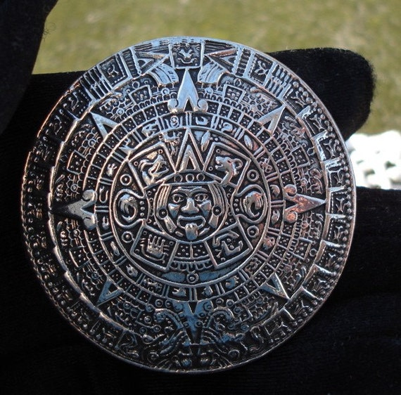 Vintage Artist Signed Silver Pin Pendant Lost Wax Cast Mayan Calendar Substantial Taxco Heirloom