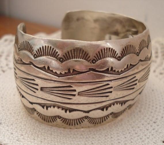 Vintage Native American Navajo Artist Signed Cuff Bracelet Watch Sterling Silver