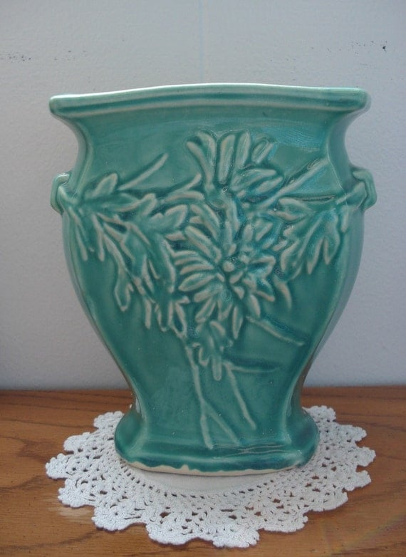 Antique 1940s Mccoy Aqua Turquoise Green Vase Ceramic Pottery