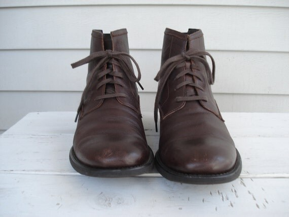 Vintage Calvin Klein Brown Leather Self Tie Ankle Boots
