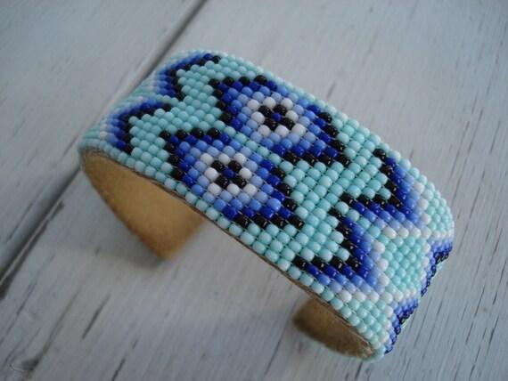 RESERVED FOR Elisa Vintage Native American Beaded Cuff Bracelet Turquoise Aqua Blue Black