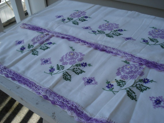 Vintage Hand Crochet and Cross Stitch Embroidered Roses Pillowcases Set of Two