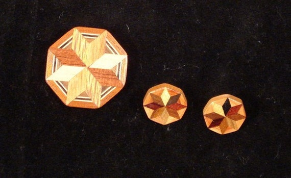 Vintage Demi Parure Amish Hex Sign Quilt Wood Inlay Pin and Pierced Earrings Set
