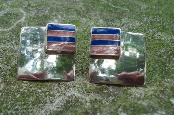 Vintage Ray Tracey Artist Signed Silver Lapis Rhodochrosite Earrings
