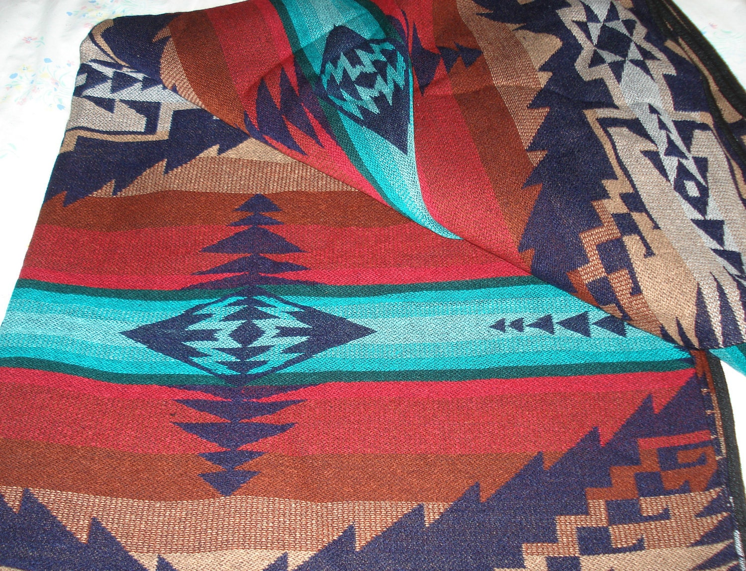 Vintage Native American Inspired Mexican Blanket Throw