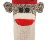 Sock Monkey Coffee Cozy - Brown