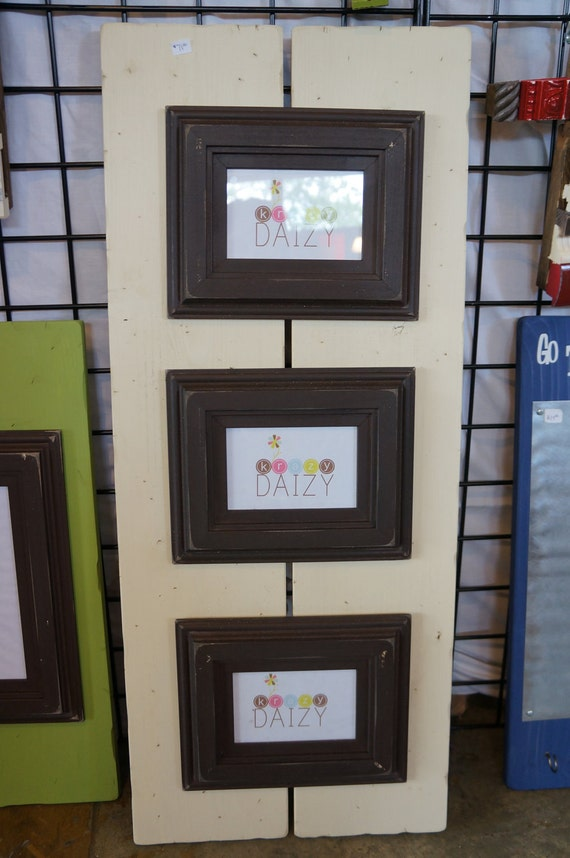 """Ready to Ship: 3- 4x6"""" Antique White & Brown Rustic Plank Frame"""