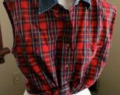 Plaid and Denim Cropped Tie Front Button Down M/L