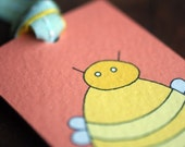 Fine Art Bookmark ( Bumble Bee with Pale Blue Grosgrain Yellow Polkadot and Pale Mint Green Ribbons  )