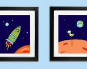 Knobby Knee Bird In Space (set of 2 childrens art prints 11x14 size )