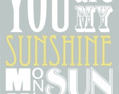 You Are My Sunshine ( 8x10 Fine Art Print ) in Pottery Barn Blue and Mellow Yellow