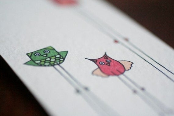 Fine Art Bookmark ( Retro Owls with Brown Gingham and Olive Green Flowered Ribbons )