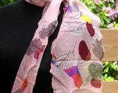 Ruffled Pink neck Scarf with trees, chiffon 6 x 52