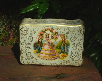 Soft Green Tin with Lady in Lavender picking flowers, Metal Box Co., England