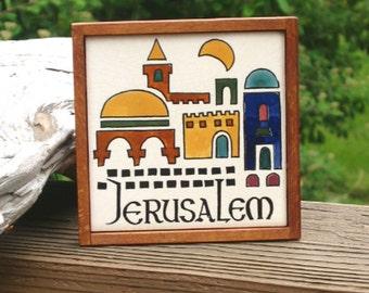 Jerusalem tile, framed handpainted 4.25 inch