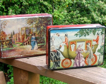 2 Antique Candy Tins, English countryside scenes with Red, hinged