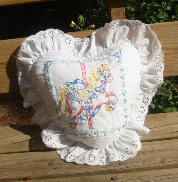 Carousel Pony heart pillow, sweetly embroidered with Eyelet ruffle