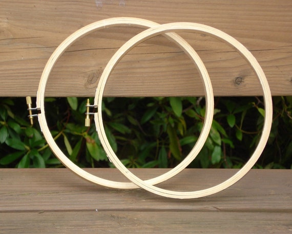 2 Hoops, 8 inch wooden circles for Embroidery or Needlework