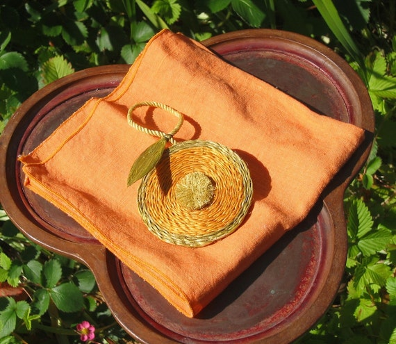 4 Tangerine Napkins and Rings, Orange linen with 4 wired Raffia rings