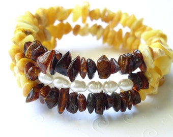 Natural Baltic Amber Silky Pearls Oval Shape Memory Bracelet