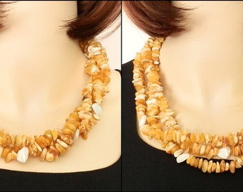 Beautiful Natural Butterscotch Baltic Amber and Mother of Pearls Hearts Triple Strands Necklace