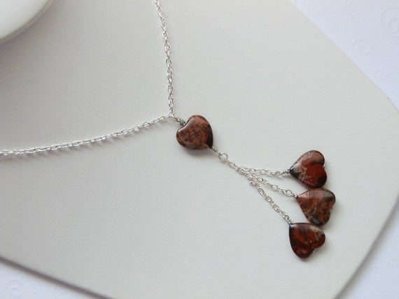 RESERVED FOR TONUALA -- Charming Silver Ocean Jasper Heart Lariat Necklace