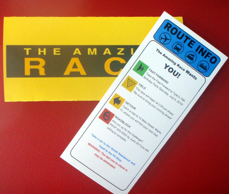 Amazing race birthday party invitations free for Amazing race birthday party templates