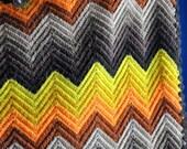 Vintage Afghan Blanket FALL colors Zig zag hand crocheted