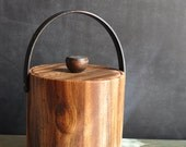 Vintage Ice Bucket Faux Bois Wood Grain 70s - Fathers Day Gift Idea - A Manly Gift for DAD and his Man Cave