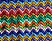 Vintage Blanket Handmade Afghan Rainbow ZIG ZAG Beauty Multi Colors