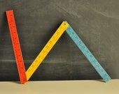 Vintage Multi Color Folding YardStick from Woolworths fancy With EXTRAS