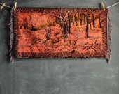 Vintage 70s Tapestry Wall Hanging or Rug Red Stags