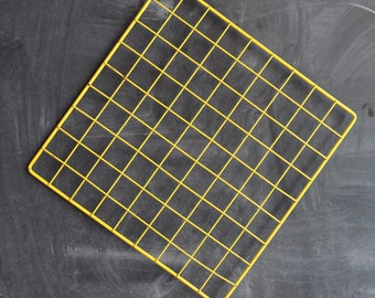 Vintage 80s Yellow Painted Metal Grid for Display or Decoration Sale