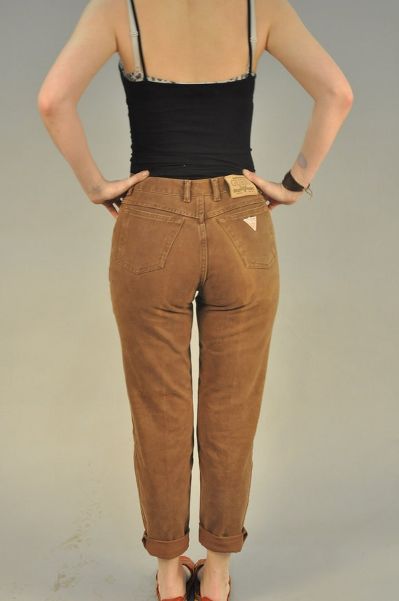 Vintage 80s Brown Guess Jeans High Waist Hip Retro by drowsySwords