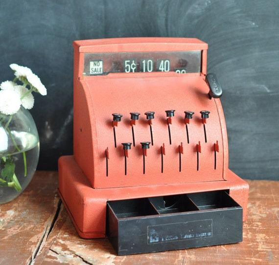 Vintage Red Toy Metal Cash Register Learning toy