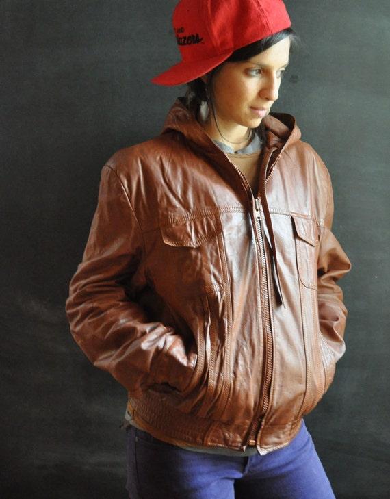 Vintage Hooded Leather Rocker Jacket Hip Hop Hipster