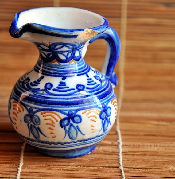 Vintage Asian Old Mini Ceramic Pitcher Blue White...