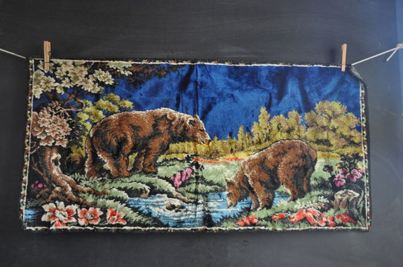 Vintage 70s Tapestry Velvet Wall Hanging Or Rug Bears